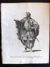 Jefferys C1760 Theatre Costume Print. Coriolanus in the Tragedy of Coriolanus